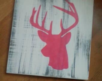 Deer silhouette hand painted for nursery shower gift girls room rustic wood sign