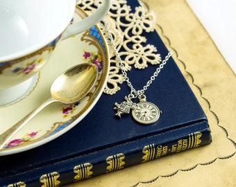 White Rabbit & Pocket Watch Necklace - Alice in Wonderland Jewellery