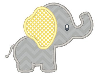 Baby Elephant Applique Embroidery Design - Instant Download