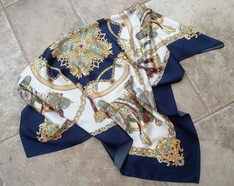 Baroque Scarf Large Vintage Camel Saddles Chains Jewels Navy Blue Gold Multicolour Bold Statement Fashion