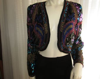 Vintage Ladies Bead/Sequin BOLERO Style Party JACKET by Lillie Rubin