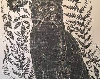 Black cat, Greenfinch,wild rose and fern lino block print A1