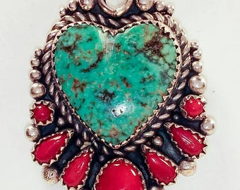 Turquoise Heart Pendant with Red Coral.