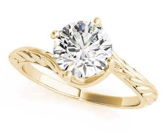 Forever Brilliant Moissanite Twisted Swirl Prong Solitaire, Engraved Band Engagement Ring in Yellow Gold