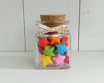 Square Jar of Multi-colored Origami Stars