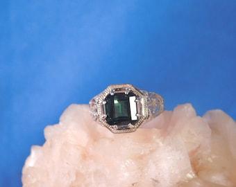 Ladies 2.95 Ct. Square Blue-Green Tourmaline Sterling Silver Filigree Ring
