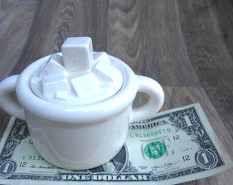 Vintage White Sugar Bowl From A Company Of Friends  1979 With Sugar Cube Top Plus Free Creamer Ceramic  Good Condition