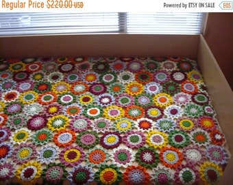 ON SALE - 10% OFF Crochet flowers blanket