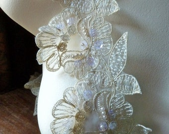 5 Gold Beaded Lace Applique Flowers Trim for Bridal, Lyrical Dance or Ballet Costumes, Garments BRI 15gold