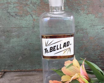 Antique 1800's Glass Apothecary Bottle with Glass Stopper - Antique Tincture of Belladonna / Tr BELLAD Glass Apothecary Bottle