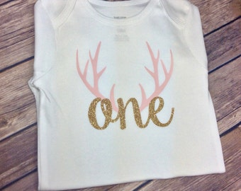 Any Colors Deer Antlers / Woodland Pink and Gold Glitter Birthday Onesie / Shirt for Any Age, One Year Old, First Birthday Shirt, 1 Year
