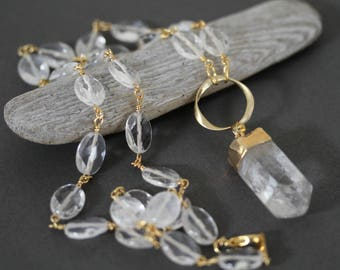 Gold Tipped Clear Raw Quartz Druzy Spike Pendant Necklace,  Simple Jewelry, Quartz Necklace, 24 Inch Necklace