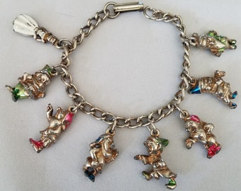 Snow White 7 Dwarfs Metal Charm Bracelet Walt Disney Productions Vintage Childs