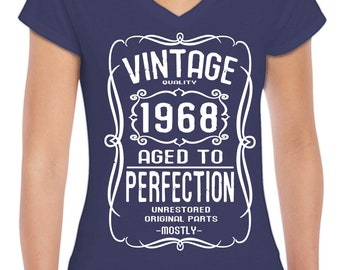 1968 50th Birthday Ladies V-neck T-shirts top tee Birthday gift party Tee Hand screen Printed to order A