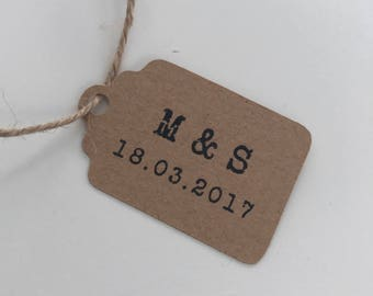 Party Favour Tags - Wedding Favour Tags - Engagement Favour Tags - Kraft Paper Tags - Customised Tags with Initials and Date (50)