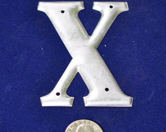 One Vintage Three-Inch Aluminum Letter X  SHIPPING INCLUDED