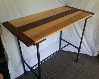 Kitchen Island (Tall Table) Or High Desk, Walnut And Hickory Top On Welded  And Painted Black Iron Pipe