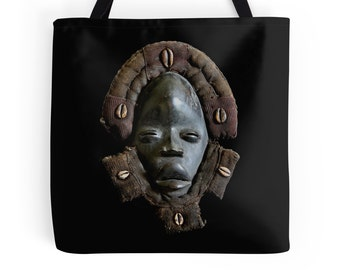 African Art Tote Bag - Featuring Exclusive Dan Deangle Face Mask Design