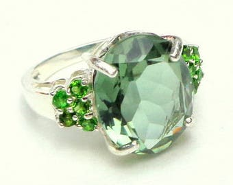 Sz 6.75, Green Amethyst, Chrome Diopside, Sterling Silver Ring, Hand Crafted, Large Natural Gemstone, Engagement, Wedding, Promise Ring