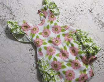 Sunburst Pink & Green Floral Ruffled Bubble Romper - Sleeve and Size Options - Flowers - Vintage-Style Sunsuit - Playsuit