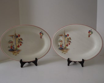 Vintage Homer Laughlin Decaled Platters, Mexicana, Hacienda Pattern, With Red Stripe, Set of Two, Retro Kitchen Serving, Circa 1936-1944