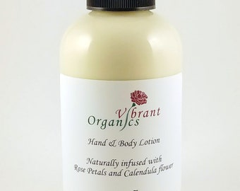 Hand & Body Lotion || Organic || Herb Infused || Rose Petals and Calendula