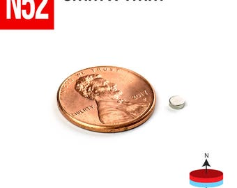 100pcs 3mm x 1mm - 1/8 x 1/32 inches N 52 Strong Disc Rare Earth Neodymium tiny Small Crafts Magnets