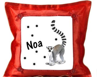 Red cushion lemur personalized with name
