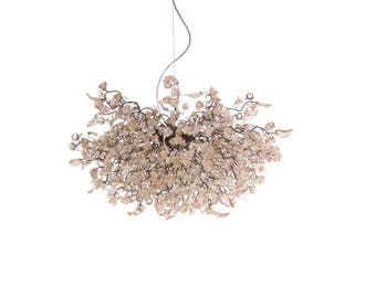 Hanging chandeliers with clear transparent mix flowers and leaves for Dining Room, a unique and elegant dining room light.