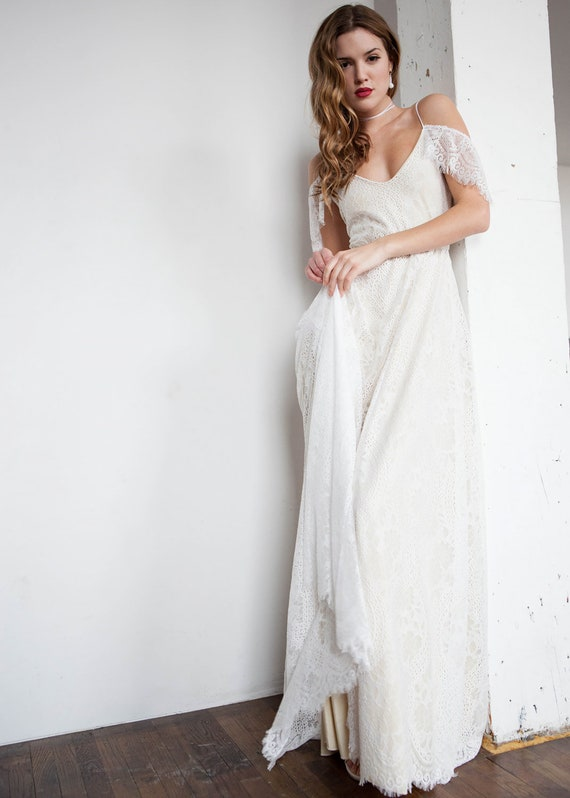 Off Shoulder Wedding Dress Boho Wedding Dress Hippie Wedding