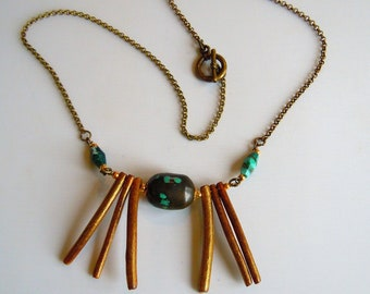 fine bronze with turquoise Tibet style boho, bohemian necklace.