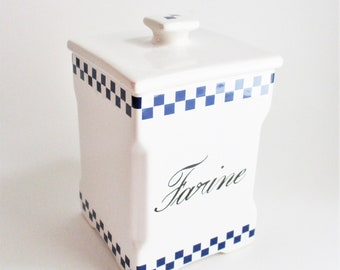 Vintage Farine French Canister Vincent Cadeaux for What's Cobalt Blue and White Kitchen Storage Decor