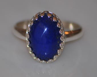Blue Lapis Cab Ring, Size 8 Sterling Silver Vintage Setting, Bright Blue Cabochon Ring
