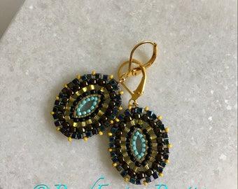 Statement Lightweight Marquise Drop Dangle Brick stitched Iris Black/Iris Purple/Burnt Orange Earrings- Gift for Her