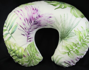 Organic Boppy Pillow Cover- Organic Watercolor Purple Tropical Leafs With Minky Underside