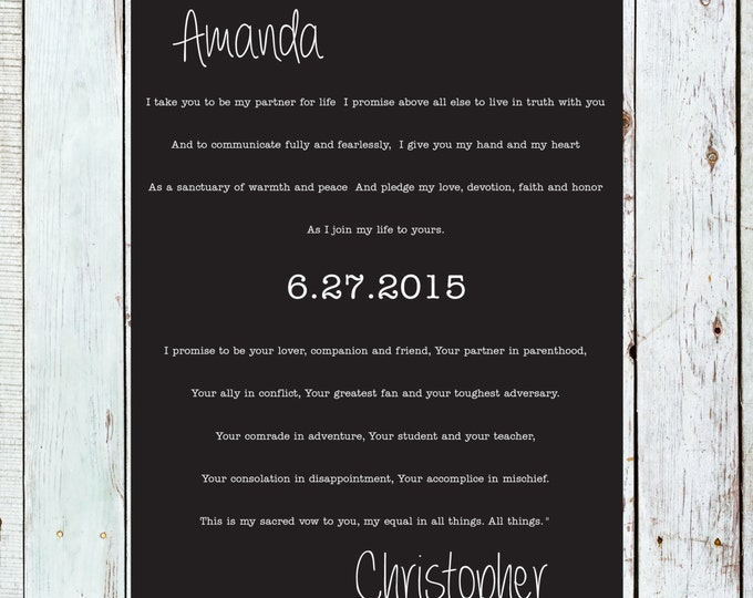 Wedding Vow Wall Piece - Engraved Wedding Keepsake, Personalized Couples Gift, Newlywed, gift