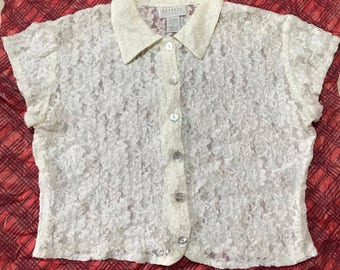 1990s Express Cropped Lace Button Up Shirt