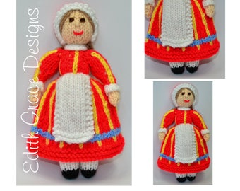 Knit Doll - Danish Folk Doll - Doll Knitting pattern - Denmark - Toy Knitting Pattern - Yarn Doll - Doll Making - Amigurumi Doll