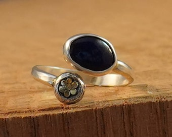 Adjustable Sterling Ring with Natural Lapis Lazuli Oval Stone and 18k Gold accents size 6.5, 7, 7.5, 8