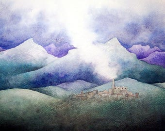 The factory in clouds - original illustration painted on paper