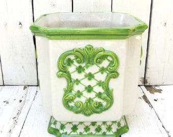 Italian Planter, Green and White Planter, Garden Decor, Small Planter, Porcelain Planter, Jardiniere, French Decor, Vintage Planter