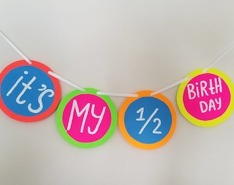 bithday banner, happy birthday banner, 6 month birthday banner , bithday decoration, half birthday banner