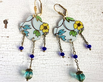 Pendant earrings, tin earrings, vintage earrings, floral earrings, boho earrings, gifts for her