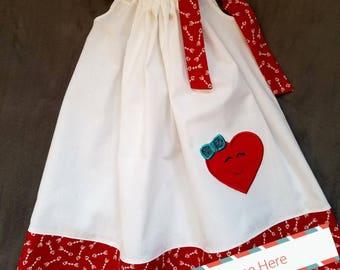 Girls Valentine/ Heart Pillow Case Dress