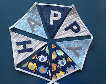 Personalised Bunting - Elephants Blue Mix