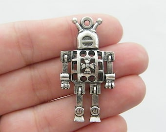 2 Robot pendants antique silver tone P208