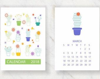 2018 Calendar, Printable Calendar, Cactus Calendar, Printable 2018 Calendar, 2018 Printable Calendar, Instant Download, A4, A5, Letter Size