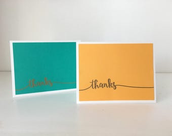 """Teal and Orange """"Thanks"""" Cards (2)"""