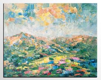Oil Painting Landscape, Abstract Art, Canvas Painting, Mountain Landscape Painting, Large Canvas Art, Original Art, Heavy Texture Wall Art