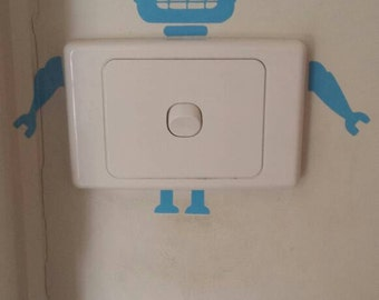 Robot light switch decal sticker vinyl